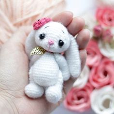 Create your own crochet bunny using this easy free amigurumi pattern! The crochet bunny is small enough to fit in your palm.