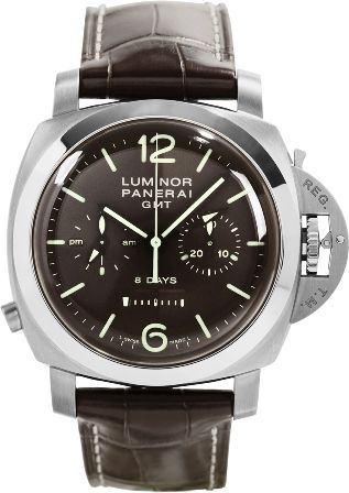 NEW PANERAI LUMINOR CHRONO MONOPULSANTE TITANIO 8 DAYS GMT TITANIO MENS MANUAL WATCH LIMITED EDITION / 300 Made. Brown Dial. Polished Titanium Bezel