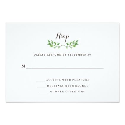 #wedding #responsecards - #Green Botanical Leaves Wedding Response Card