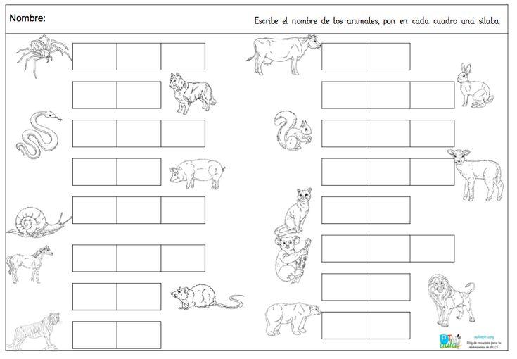 TRABAJAMOS LAS SÍLABAS ESCRIBIENDO EL NOMBRE DE LOS ANIMALES
