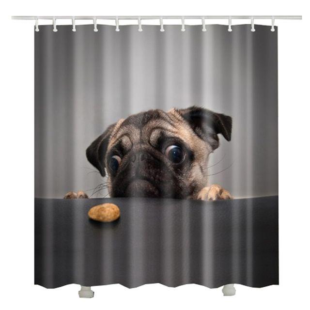 Pug Puppy Shower Curtain Fabric Bathroom Decor Set with Hooks 4 Sizes