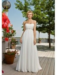 Chiffon Strapless Softly Curved Neckline Column Wedding Dress