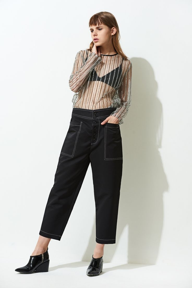 FRS Black Tapered Crop Pants - $67.00 FrontRowShop