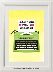 Typewriter Wedding Print by Bespoke Moments. Worldwide Shipping Available.