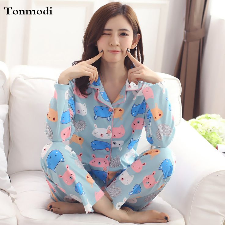Cotton Long-sleeve Pyjamas Woman Sleepwear Spring And Autumn Cardigan Sleep Nightclothes Female Lounge Pajama Set Plus Size 3XL