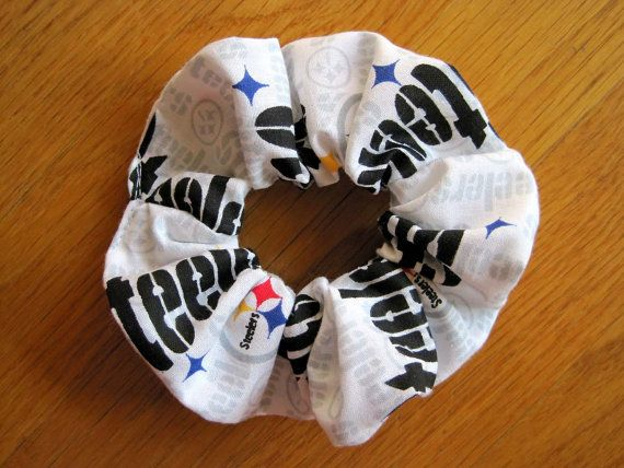 Sports Scrunchies - Handmade from Pittsburgh Steelers 100% COTTON - WHITE, Gray Black Yellow Red Blue NFL pro Football Team, Ponytail holder ~ Available on www.MaliakeiBags.com