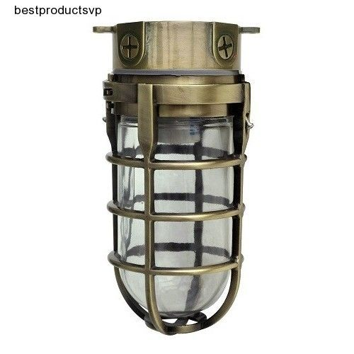 Porch Light Ceiling Fixture Industrial Outdoor Flush Mount Wall Brass Aluminum