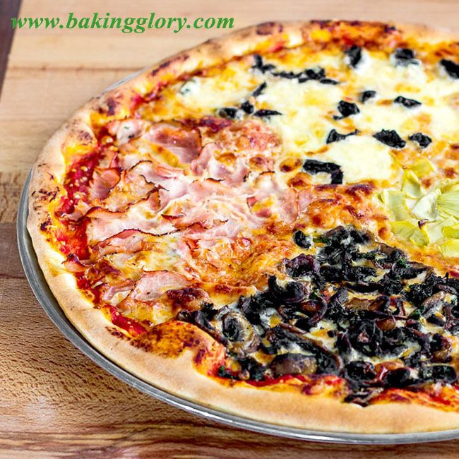 Quattro Stagioni - delicious with different toppings on each quarter