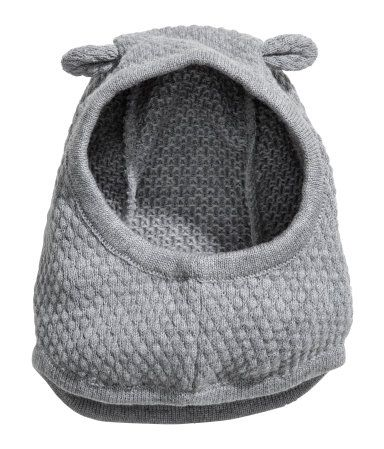 Grey marl. BABY EXCLUSIVE. Textured-knit balaclava in a soft cotton and wool blend with attached ears at top.