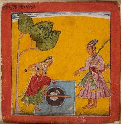 Style: Pahari; Type: Deities and ragas; Title: 'A lady and prince at a well, depicting the musical mode Raga Kumbha', Basohli, c. 1680