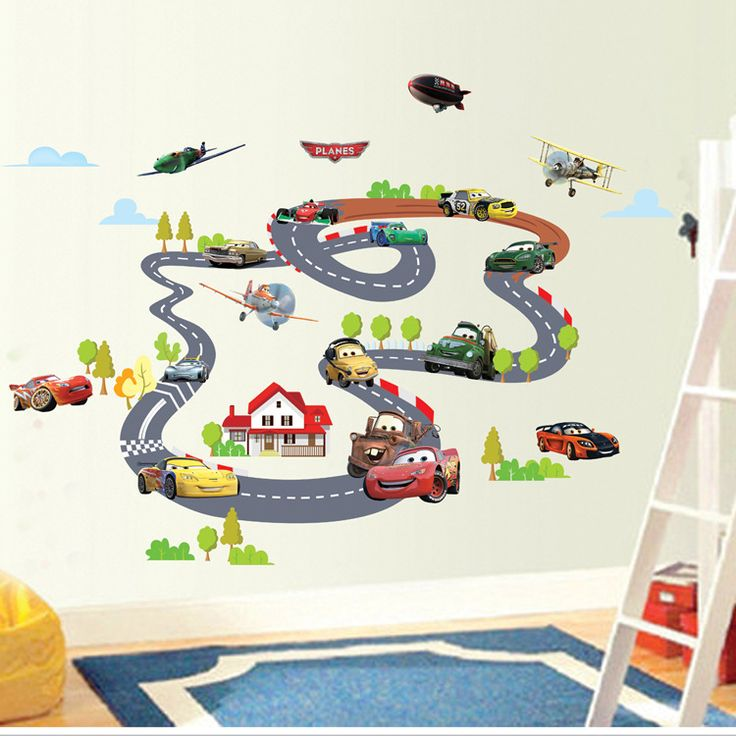 Free shipping Children pvc green wall stickers home decor, car track stickers decorative backdrop sticker for kids rooms