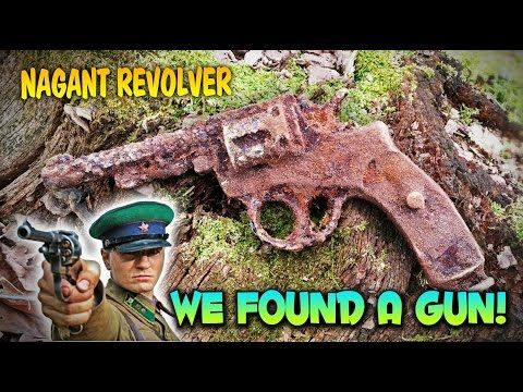 We found a gun! Russian nagant pistol WW2 metal detecting - YouTube