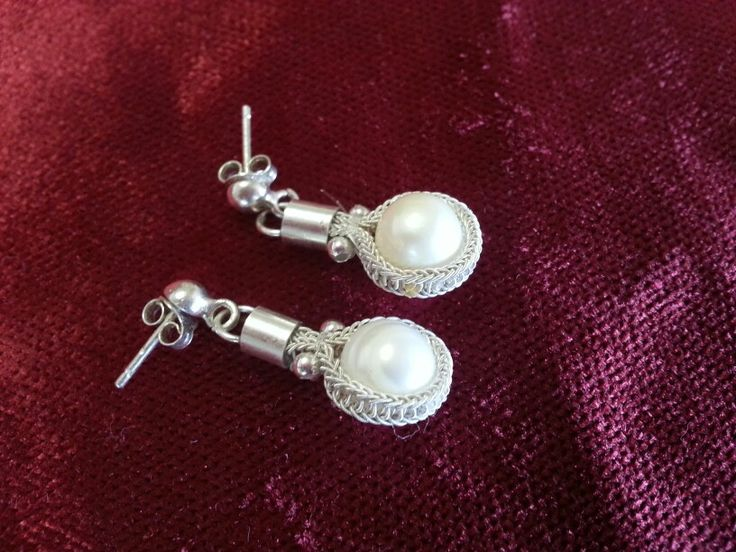 Handmade silver pearl earrings Kazaziye