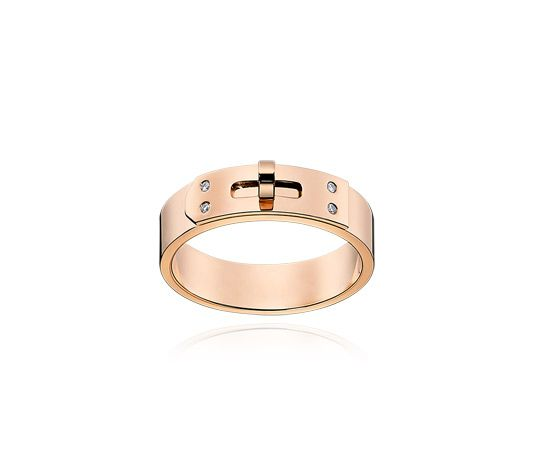 11acbc3ed691 Hermes ring in rose gold set with 4 diamonds (0.02 ct), PM, size 46 The  Kelly handbag became legendary when it appeared on the arm of Grace Ke…