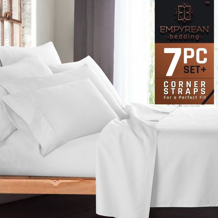 7 Pc Split King Size Bed Sheet Pillow Case Set White Bedroom Home Decoration New #7PcSplit