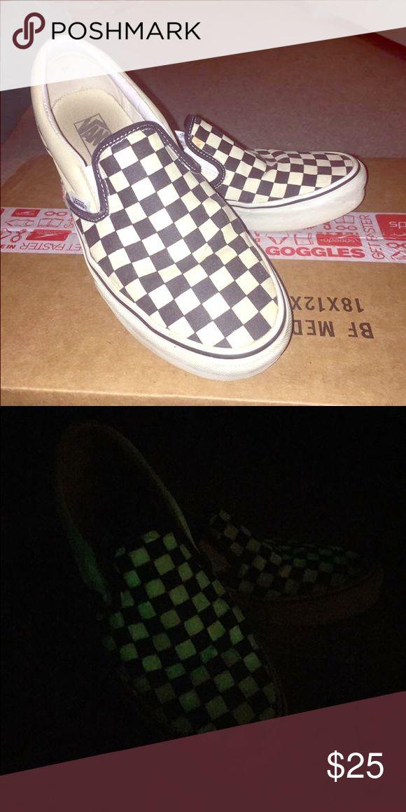 Vans checkerboard slip on Glow in the dark vans checkerboard slip on. They're unisex size women's 10 and men's 8.5. Barely worn! Vans Shoes Loafers & Slip-Ons