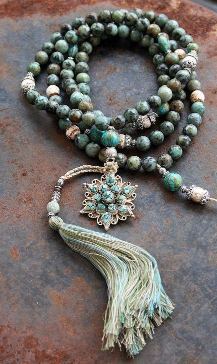 RESERVED for bluekrishnaseeker - African Turquoise Mala necklace