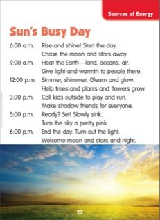 Sun's Busy Day (Sources of Energy): Science Poem
