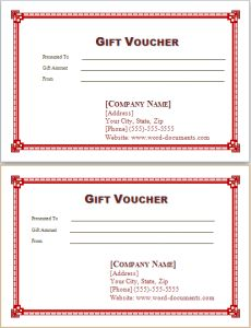 gift vouchers template at word-documents.com