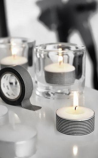 The easiest washi DIY ever! Ingredients: tea lights, washi tape, 5 minutes. #washi #diy