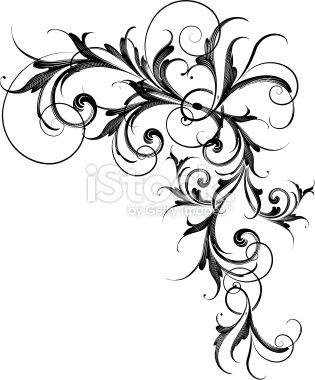 Motif floral, Arabesque, Style gothique, Armoiries, Enroulement Illustration vectorielle libre de droits