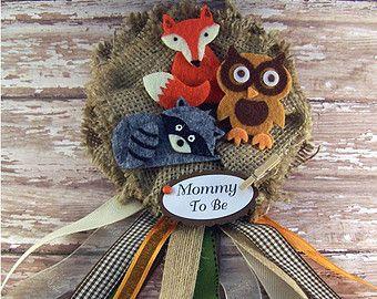 Woodland baby shower corsage