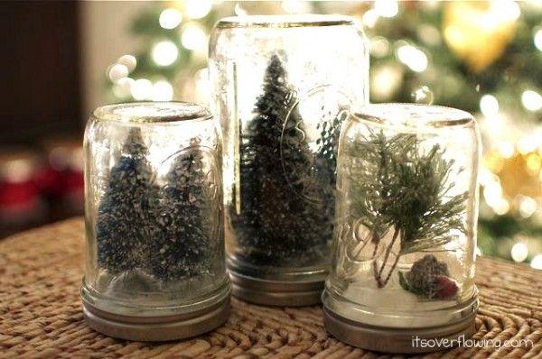 anthropologie inspired snow globe using mason jars