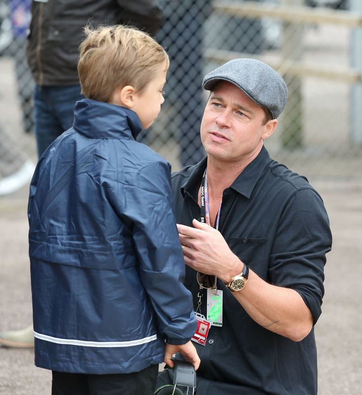 Brad Pitt and Son Knox Have an Adorable Day Out at the Race Track: Brad Pitt and his youngest son, Knox, enjoyed a boys' day out on Sunday.