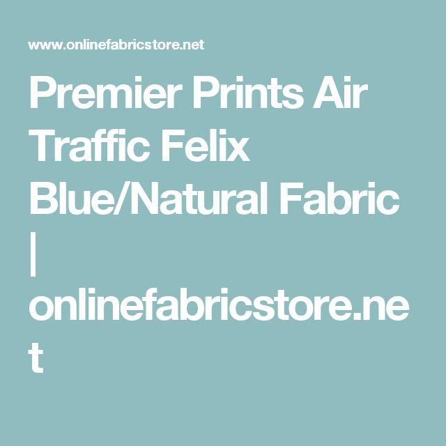Premier Prints Air Traffic Felix Blue/Natural Fabric | onlinefabricstore.net