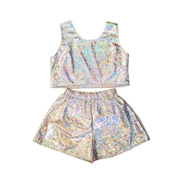 Holographic Top and Shorts Two Piece Co-Ord Summer Festival Beach Party Irridescent Sparkle Twin Set