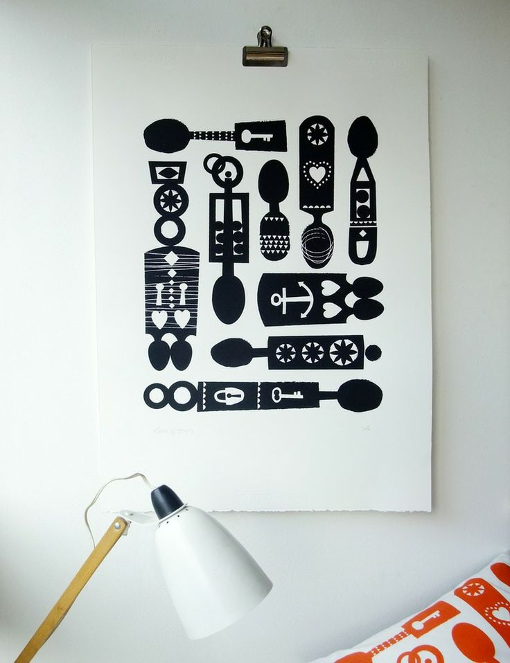 Image of love spoons screen print