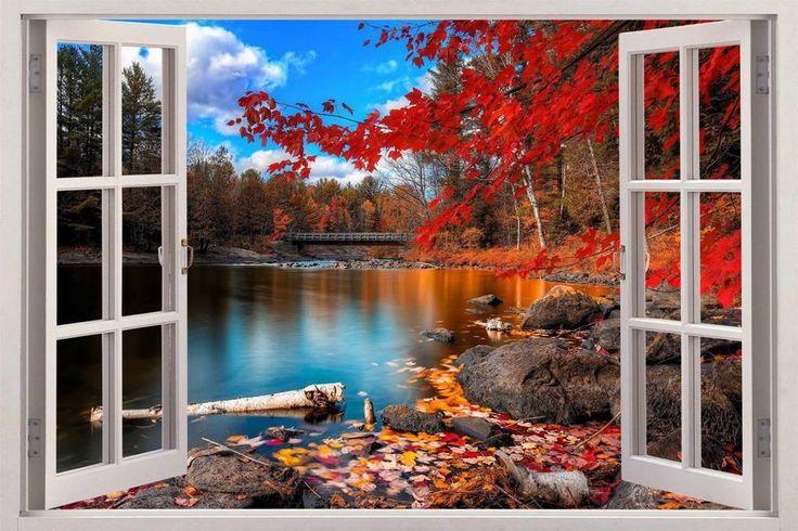 Fall Decor Wallpaper Autumn Lakeside 3d Window View Decal Wall Sticker Decor