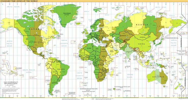 Time Zones of the World Map (Large Version)