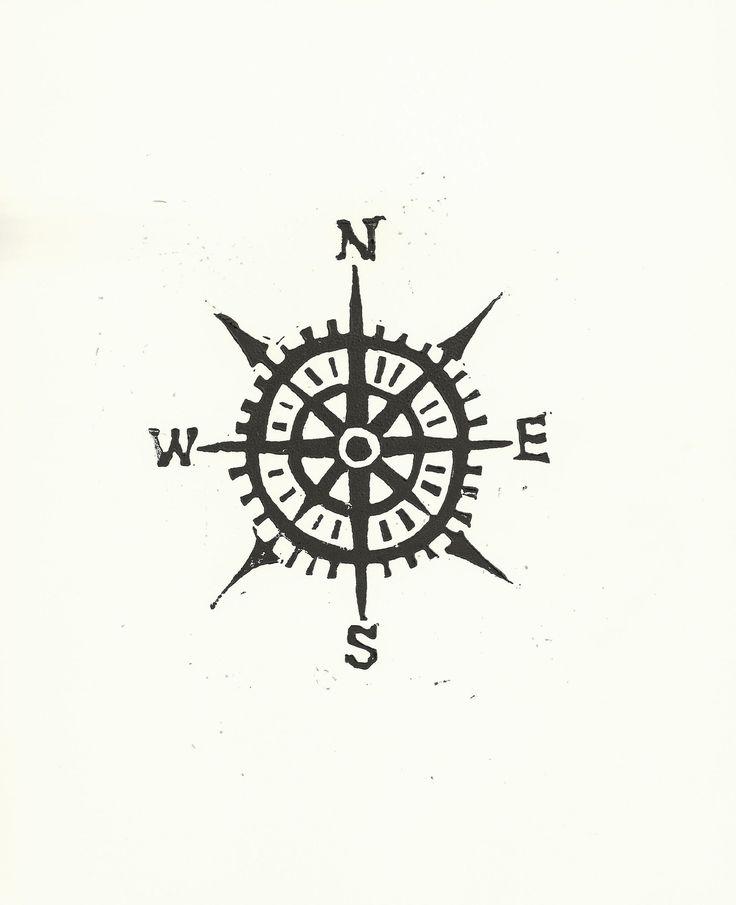 PRINT -  Compass / Cardinal directions BLACK LINOCUT 8x10.