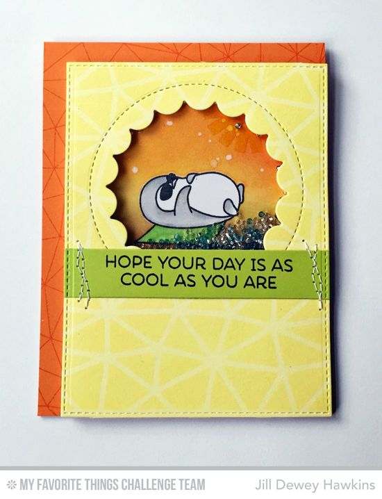 Cool Day Cool You Card by Jill Dewey Hawkins featuring the Penguins in Paradise stamp set, Abstract background stamp, and Lisa Johnson Designs Jumbo Peek-a-Boo Circle Windows Die-namics #mftstamps