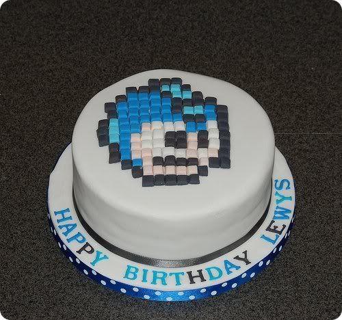 Megaman birthday cake 8-bit