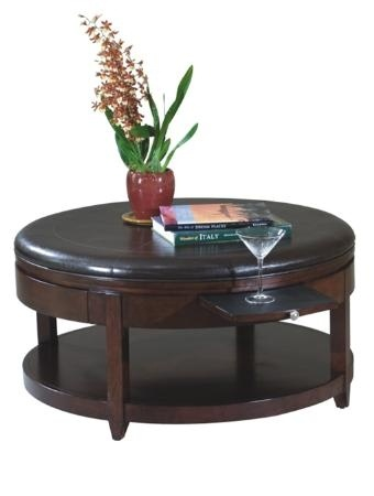 Round Cocktail Ottoman With Casters Pull Out Trays For Drinks And Drawer For Storage 40 W 18 H