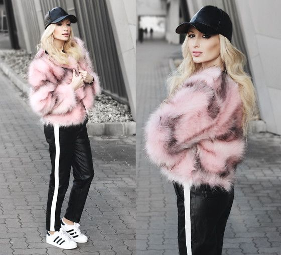 Get this look: http://lb.nu/look/8526363  More looks by Chloe From The Woods: http://lb.nu/chloefromthewoods  Items in this look:  Sheinside Pink Open Front Faux Fur Coat, Sheinside Black Striped Side Faux Leather Pants, Sheinside Black Faux Leather Hip Hop Baseball Cap   #grunge #street