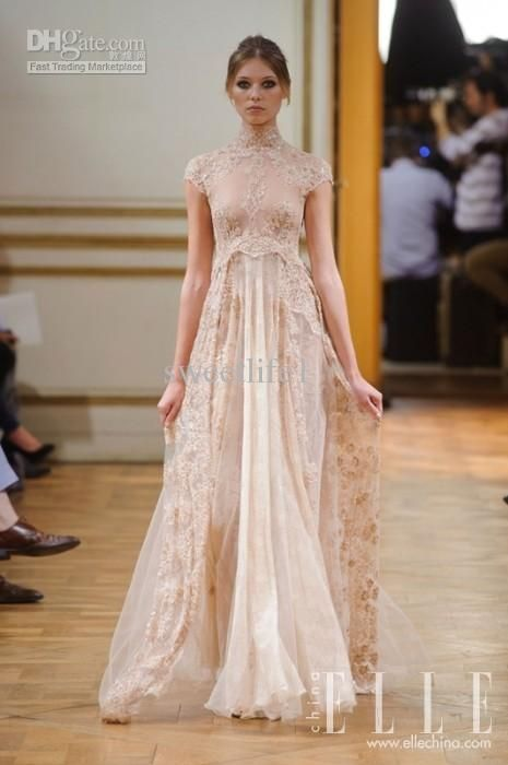 Vintage 2014 Zuhair Murad Wedding Dresses High Neck Appliques See Through Floor Length Sheer Back Capped Beach Dress for Bridal