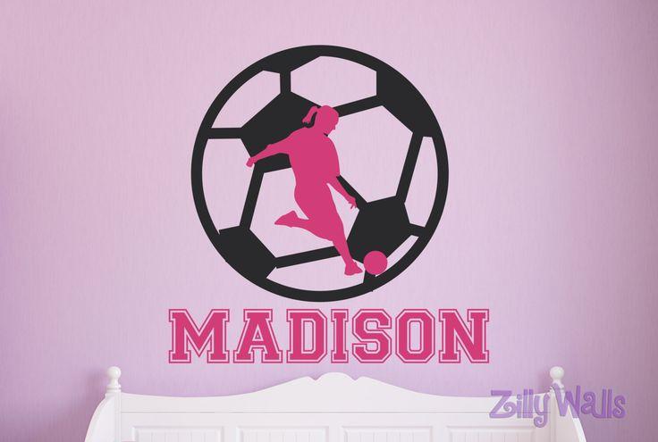 "Girls Soccer Custom Vinyl Name Decal 16"" x 16""  Futbol Nursery Monogram Room - Sport Decal - Wall Name Decal Childrens Boys and Girls  Decor by ZillyWalls on Etsy https://www.etsy.com/listing/214707215/girls-soccer-custom-vinyl-name-decal-16"