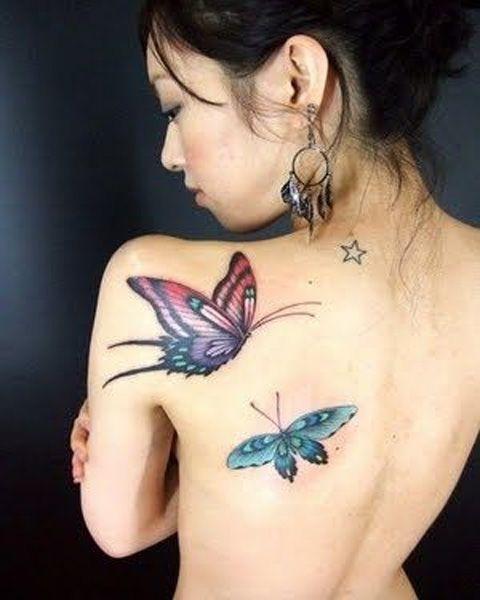 Schmetterlinge und Star Back Tattoos für Mädchen
