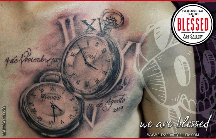Tatuaje de relojes realizados por Eduardo Alonso