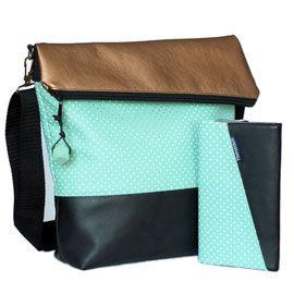 Fold Over FoldOver Tasche nähen, Überschlagtasche nähen, Tasche mit Überschlag nähen, Umhängetasche mit schräger Klappe nähen, Hansedelli, Ebook, Nähanleitung, nähen für Anfänger, Tasche mit passender Geldbörse in mint und gold
