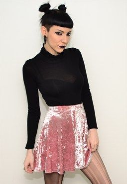 Vintage 90's Grunge Powder Pink Crushed Velvet Skater Skirt