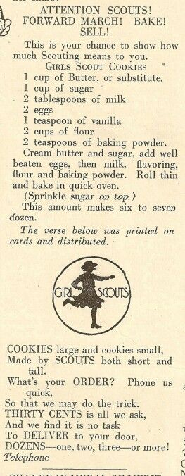 Girl Scout Cookies... were originally baked by the scouts! O.o neat info!