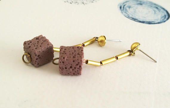 Lava Stone Minimal Earrings Geometric Purple Lava Bead and
