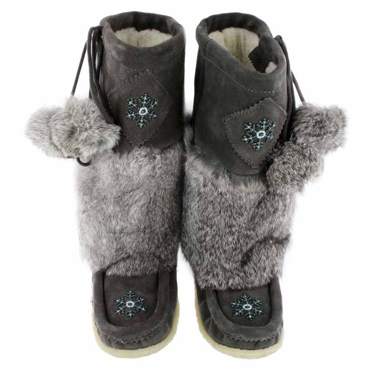 Grey rabbit fur mukluks