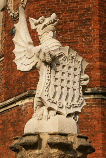 The Tudor Dragon, The King's Beast, Hampton Court Palace, with the Beaufort portcullis badge