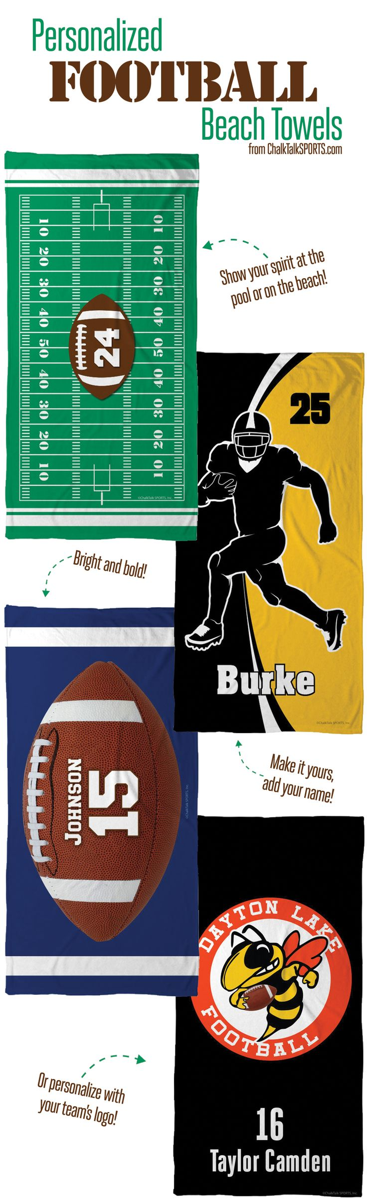 Rep your team at the beach or pool! Personalized football beach towels from ChalkTalkSPORTS.com!