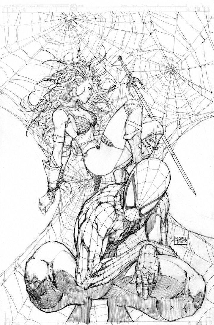 Spider-Man & Red Sonja by Michael Turner
